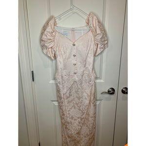 Scott McClintock Brocade 80's Puff Sleeve Dress